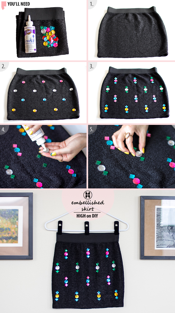 DIY Jewel Embellished Skirt 3