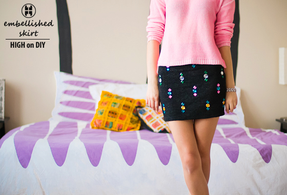 DIY Jewel Embellished Skirt 4