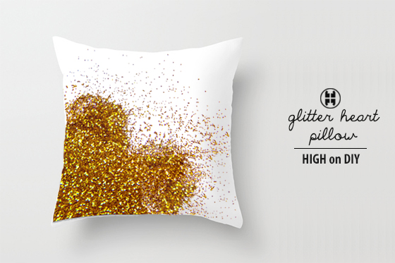 diy metallic glitter heart pillow high on diy. Black Bedroom Furniture Sets. Home Design Ideas