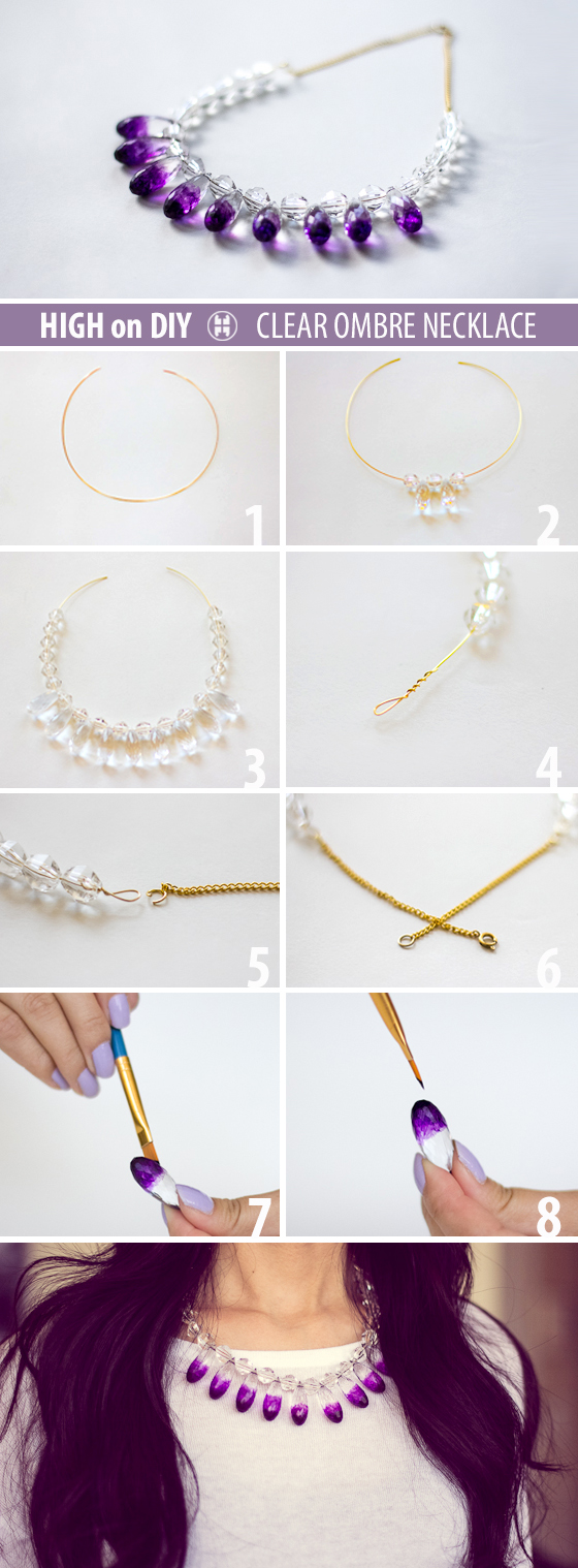 DIY Clear Ombre Crystal Necklace | HIGH on DIY