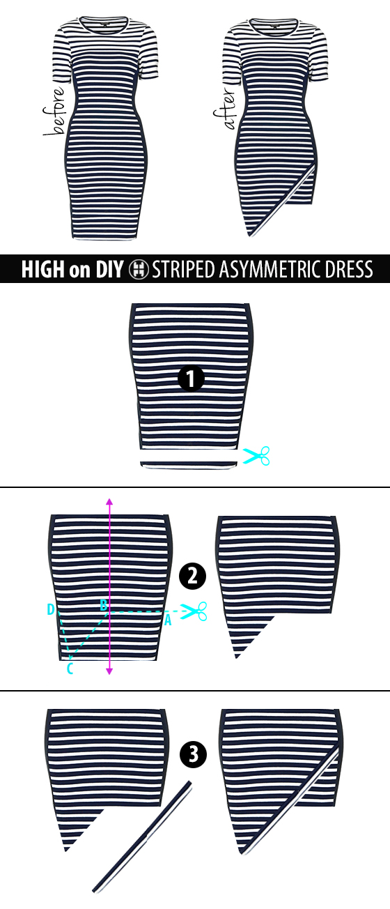 DIY_Asymmetric_Hem_Striped_Dress_steps