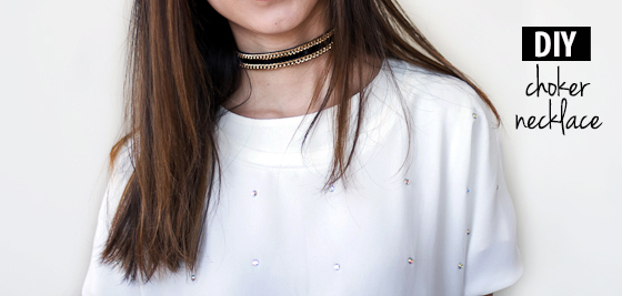 DIY Leather & Chain Choker Necklace